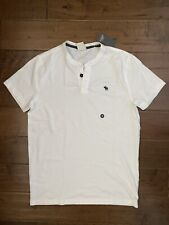 New Abercrombie & Fitch Muscle Fit Men's Henley, White, Size M