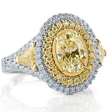 2.96 Ct Light Yellow Oval Shaped Trillion Side Diamond Engagement Ring 18k White
