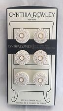 Cynthia Rowley 6 Drawer Cabinet Pulls Circles White Washed w/ Gold Round Knobs