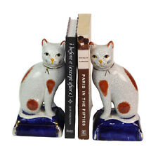 Vintage Pair of 2 Fitz & Floyd Porcelain Cats on Blue Pillows Figurines Bookends