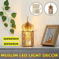 LED Light Wooden Palace Eid Mubarak Lantern Ramadan Home Party Decor DIY