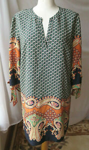 FOREVER 21 3/4 SLEEVE FLORAL MULTI COLOR PAISLEY BLOUSE V-NECK LINED TUNIC L TOP