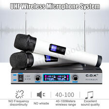 UHF Wireless Microphone System LCD Display +Dual Handheld Mic Party KTV Cordless