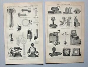 Telegrafie, Telefon, Siemens, Bell -  Lot 3 Blatt - Stich, Holzstich um 1890