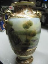 NIPPON HAND  PAINTED     VASE  12''   GILDED  BEADED  REPAIRED