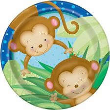 BABY BOY MONKEY LARGE PAPER PLATES (8) ~ Shower Party Supplies Dinner Luncheon