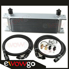 13-ROW ALUMINUM AN10 ENGINE OIL COOLER+RELOCATION KIT+Nylon Cover Braided LINES
