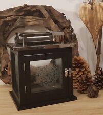 Holz Laterne B-Ware Ornament Glas Metall Edelstahl 20x20cm Windlicht schwarz