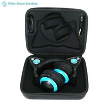 Brookstone Over the Ear Cat Headphones + Case ~ Blue ~ Cat Ears Light Up!
