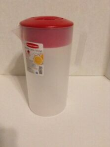 Rubbermaid 2 Quart Plastic Pitcher Clear With Red Lid