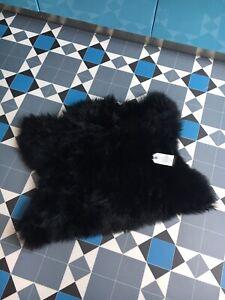 Genuine Sheepskin Rug Motorcycle Seat Pad Half Sheepskin Plush Jet Black