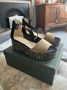 Hobbs Mabel Wedge suede sandal with animal print platform size 6 (39) BNWT