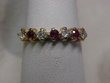 Band-Ring 14K Yellow Gold sz5 *Estate*.43ctw Natural Diamond & Red Ruby