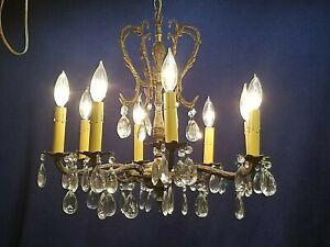 Vintage 8 arm Spanish style brass crystal Chandelier