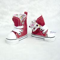 Yo SD OB Male 1/6 Bjd Doll Shoes Denim Folded Sneaker Red (for Foot 4.5cm long)