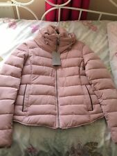 ZARA PINK QUILTED JACKET WITH HIDDEN HOOD FAUX FUR HOOD SIZE XS