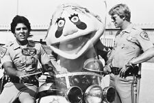 Chips John And Ponch By Police Motorbikes B&W Large Poster