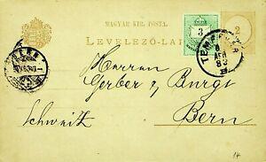 HUNGARY 1883 3k UPRATED ON 2k POSTAL CARD FROM TEMESVAR TO BERN SWITZERLAND
