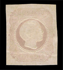 GENUINE PORTUGAL SCOTT #9 MINT 1855 LILAC STRAIGHT HAIR SCV $750 - ESTATE SALE