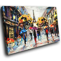 SC582 Colourful Retro Paris Cool Landscape Canvas Wall Art Large Picture Prints