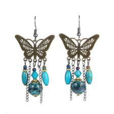 Bronze Boho Bohemian Turquoise Aqua Blue Beaded Chain Chandelier Earrings