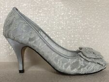 *SALE* Silver Grey Lace Heeled Occasion/Party Shoe Front Bow Detail - 3-8