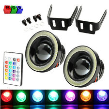 Pair 12V 3'' RGB LED COB Multi Halo Rings Angel Eyes Fog Driving DRL Signa Light