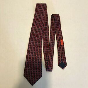 Men's Hermes Paris Neck Tie 100% Silk Made In France Rope Knots Pattern