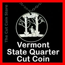 Vermont Maple Syrup  Tapping Hand Cut Out Coin 25¢ VT Quarter Necklace