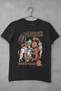 Vtg Cleveland Browns NFL Football T-Shirt Black Unisex Reprint All Size TK4276