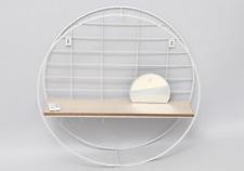 Circular Metal Wire White Wooden Shelf Unit With Hooks & Mirror Organizer Holder
