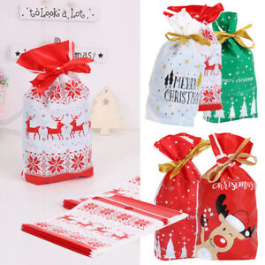 10/20 Drawstring Christmas Gift Bag Party Candy Bags Cookie Wrapping Pouch Sacks