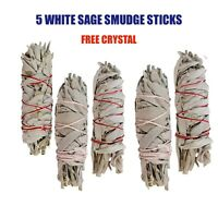 5 WHITE SAGE STICKS SMUDGE KIT REFILL FREE CRYSTAL HOUSE CLEARING ENERGY HEALING