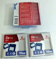 Lot of 2 Iomega Zip Disk 750MB PC/MAC Disks - Brand New in Open Package