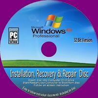 WINDOWS XP PROFESSIONAL 32 Bit & SP3 RE-INSTALLATION RECOVERY REPAIR CD ROM NEW