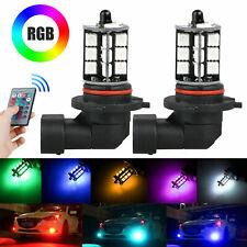 2x 9006 LED 27-SMD 5050 RGB Car Headlight Fog Light Lamp Bulb + Remote Control