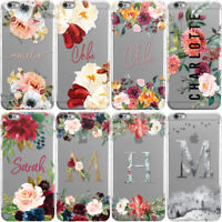 DYEFOR FLORAL TRANSPARENT & NAME HARD PHONE CASE COVER FOR APPLE IPHONE