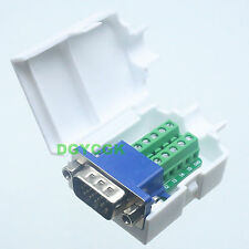DB15 15 Pin D-SUB VGA male adapter Terminal Breakout Plastic cover nut 3+6