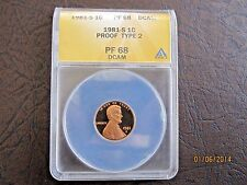 1981 S Type 2 PROOF LINCOLN MEMORIAL CENT ANACS PR68 DCAM