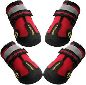 QUMY Dog Boots Waterproof Shoes for Dogs with Reflective Rugged Anti-Slip Size 3