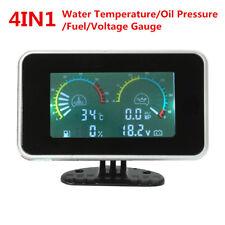 4In1 LCD Car Oil Pressure/Voltmeter /Water Temperature Gauge Fuel Meter 12V/24V