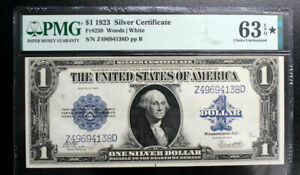 1923 SILVER CERTIFICATE $1 One Dollar Bill PMG 63 * CHOICE UNCIRCULATED FR #238