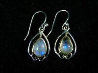 Genuine 925 Sterling Silver BLUE FIRE RAINBOW MOONSTONE Beautiful Earrings NEW