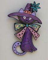 Adorable  artistic Cat  large Brooch Pin in enamel on Metal