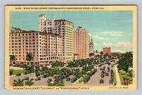 Miami FL, Biscayne Boulevard Hotels, Traffic, Florida Linen c1941 Postcard
