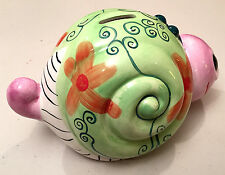 Piggy bank, Snail money bank, Ceramic, collectible, excellent condition no chips