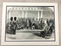 1855 Queen Victoria Buckingham Palace The Krim Krieg Soldiers Antik Aufdruck