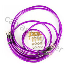 5 pcs Purple Universal Car SUV Blue Ground/Grounding Wire Cable Earth System Kit