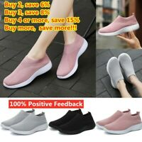Womens Mesh Comfy Sock Shoes Ladies Slip On Gym Sport Running Sneakers Trainers/