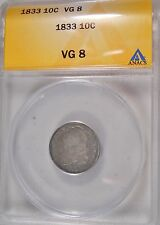 1833 Certified VG8 Anacs Very Good Capped Bust Silver Dime Coin V G 106